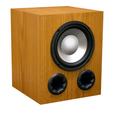 Oak Subwoofer with Buttercup Stain in Satin Finish.