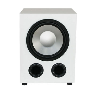 White Subwoofer with High Gloss Finish.