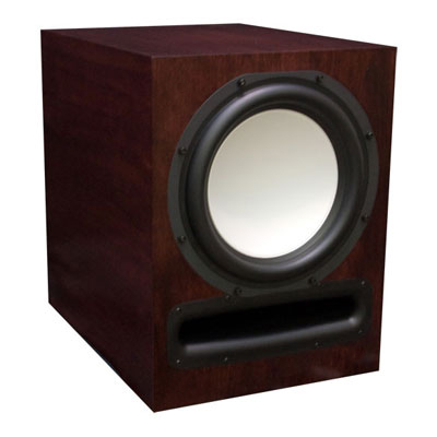Cherry Subwoofer with Chestnut Stain in Semi Gloss Finish.