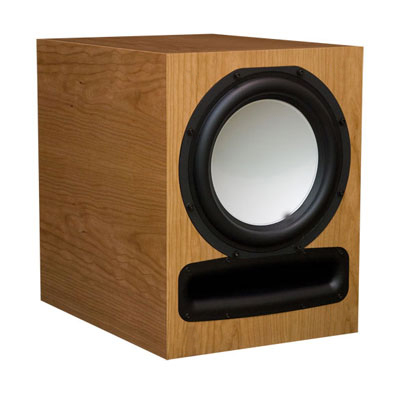 Cherry Subwoofer with Natural Stain in Satin Finish.