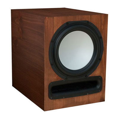 Knotty Pine Subwoofer with Nutmeg Stain in Semi Gloss Finish.