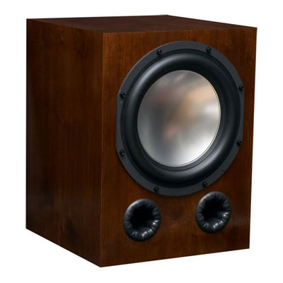 Walnut Subwoofer with Coffee Stain in Semi Gloss Finish.