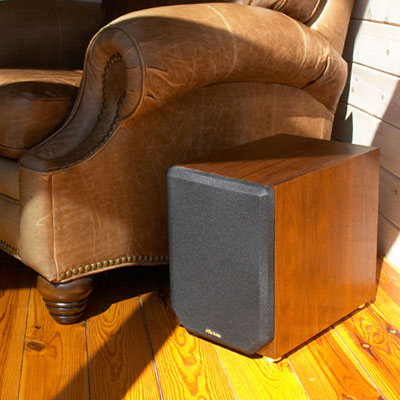 Cherry Subwoofer with Bordeaux Stain in Semi Gloss Finish.