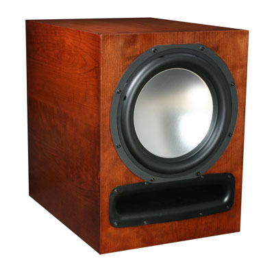 Cherry Subwoofer with Bordeaux Stain in Satin Finish.