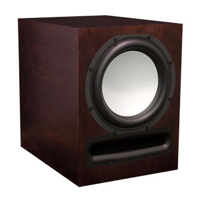 Cherry Subwoofer with Chestnut Stain in Satin Finish.