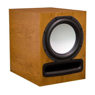 Cherry Subwoofer with Cinnamon Stain in Satin Finish.