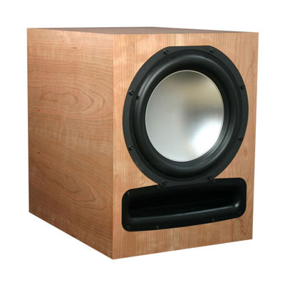 Cherry Subwoofer with Custom Stain in Semi Gloss Finish.