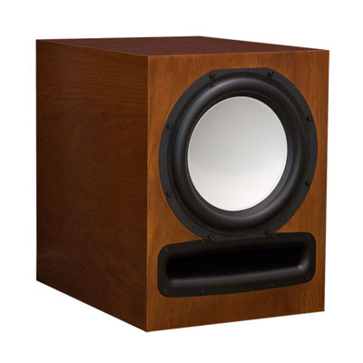 Cherry Subwoofer with Nutmeg Stain in Semi Gloss Finish.