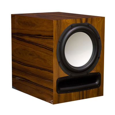Rosewood Subwoofer with Natural Stain in High Gloss Finish.