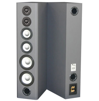 Brushed Silver Custom Vinyl Finish with Bi-wireable and Bi-ampable Input.