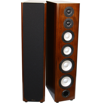 Cherry Speakers with Caramel Stain in Semi Gloss Finish.