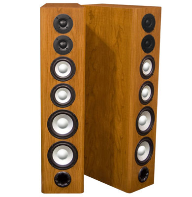 Cherry Speakers with Cinnamon Stain in Satin Finish.