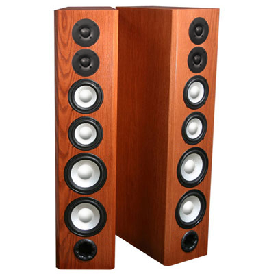 Oak Speakers with Cinnamon Stain in Satin Finish.