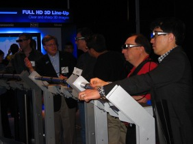 Viewers donned goggles to view Panasonic's 3D screens
