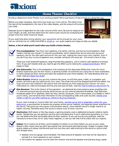 Download the Basement Home Theater Checklist