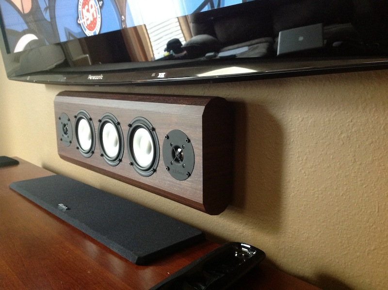 On-Wall Center Channel Speaker - W150. Custom vinyl finish vermont maple.