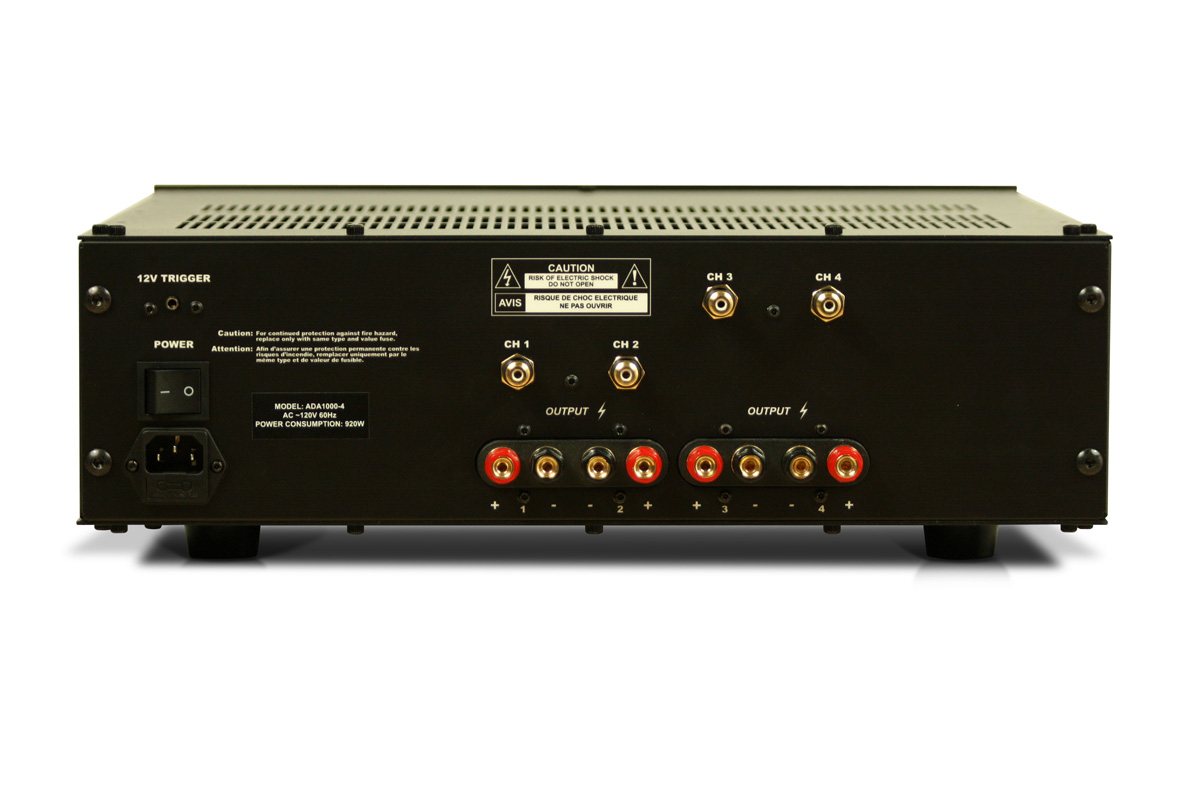 Rear view of a 4-channel version of the amplifier