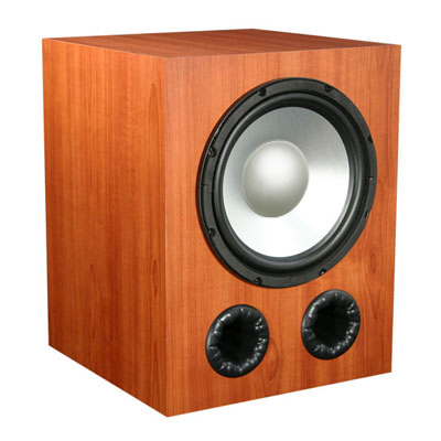 Knotty Pine Subwoofer with Nutmeg Stain in Satin Finish.