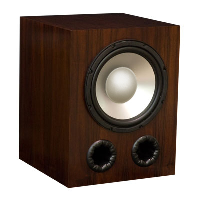 Rosewood Subwoofer with Chestnut Stain in Semi Gloss Finish.