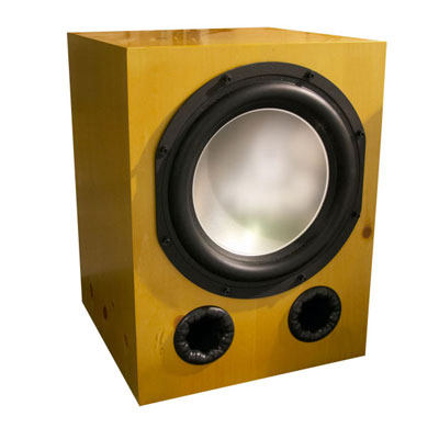 Knotty Pine Subwoofer with Buttercup Stain in Semi Gloss Finish.