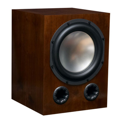 Walnut Subwoofer with Caramel Stain in Semi Gloss Finish.