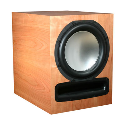 Cherry Subwoofer with Natural Stain in Semi Gloss Finish.