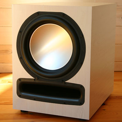 Knotty Pine Subwoofer with White Oak Stain in Semi Gloss Finish.