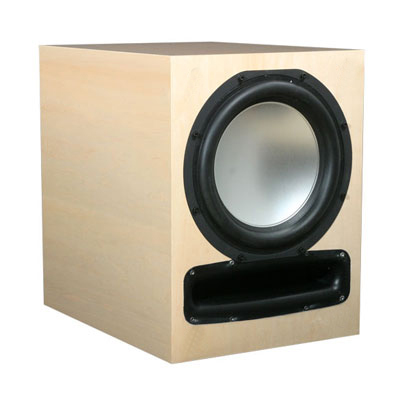 Maple Subwoofer with Natural Stain in High Gloss Finish.