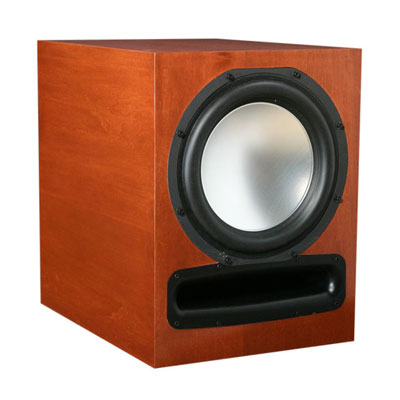 Maple Subwoofer with Nutmeg Stain in Semi Gloss Finish.