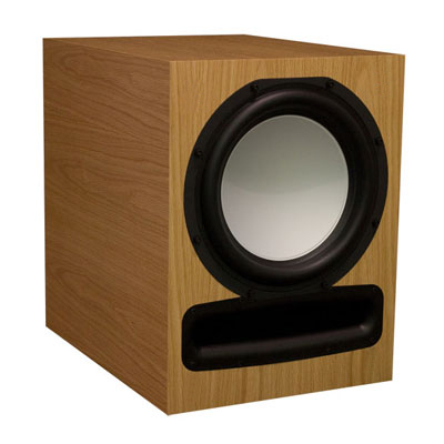 Oak Subwoofer with Natural Stain in Satin Finish.
