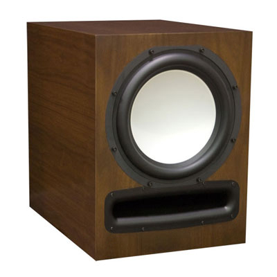 Walnut Subwoofer with Carmel Stain in Semi Gloss Finish.