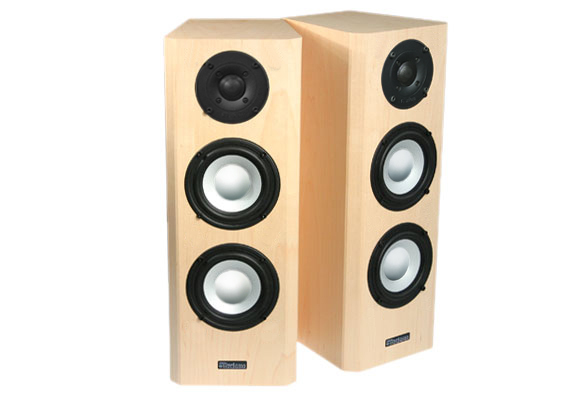 Maple Speakers with Natural Stain in Satin Finish.
