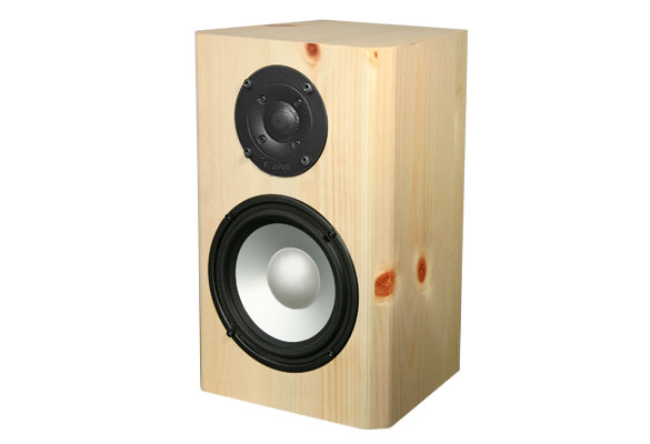Knotty Pine Speakers with Natural Stain in Semi Gloss Finish.