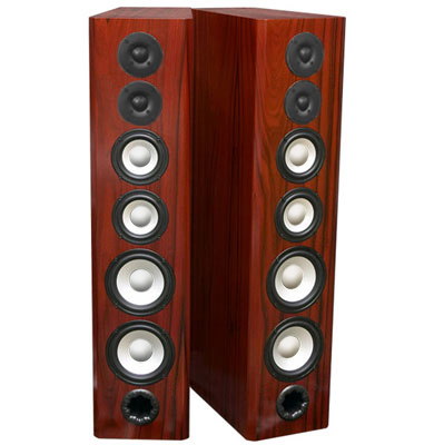 Rosewood Speakers with Red Stain in Semi Gloss Finish.